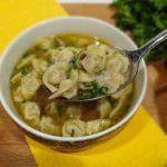 Суп с мини пельмешками. Soup with mini dumplings.
